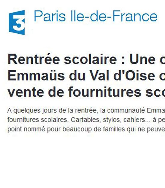 Rentrée scolaire : Une communauté Emmaüs du Val d'Oise organise une grande vente de fournitures scolaires