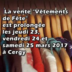 Les vêtements à Cergy les 16, 123, 24 et 25 mars 2017