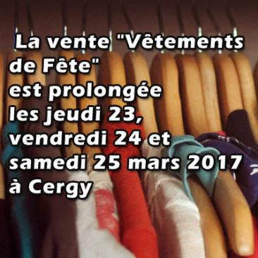 Vente vêtements de fête prolongée à Cergy mars 2017
