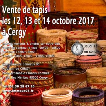 vente de tapis les 12, 13 et 14 octobre 2017 à Cergy