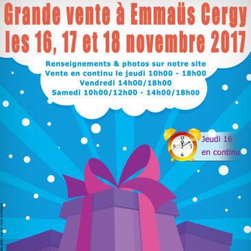 Grande vente à Emmaüs Cergy les 16, 17 et 18 novembre 2017