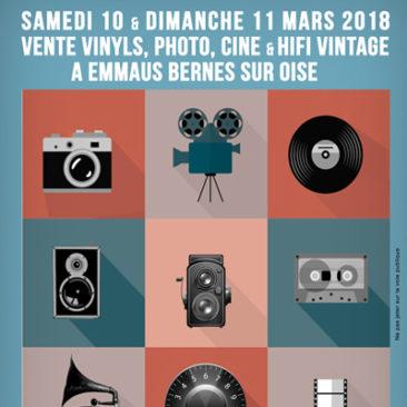 Vente vinyls, photo, ciné et Hifi vintage le samedi 10 et dimanche 11 mars 2018 à Bernes