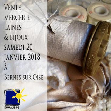 Vente mercerie, laines et bijoux le samedi 20 janvier 2018 à Bernes sur Oise