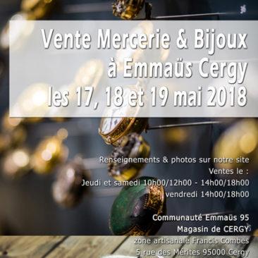 Vente mercerie et bijoux à Emmaüs Cergy les 17, 18 et 19 mai 2018