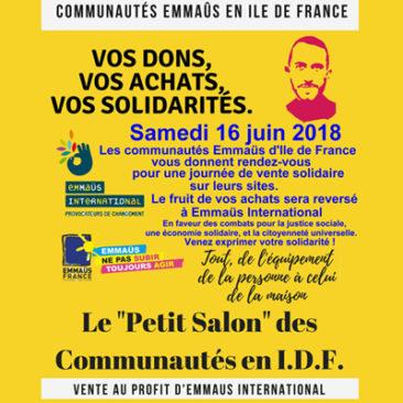 Vente solidaire le samedi 16 juin 2018 au profit d'Emmaüs international