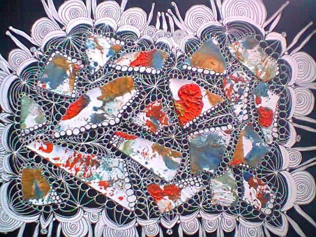 collage et dessin feutre blanc papier noir