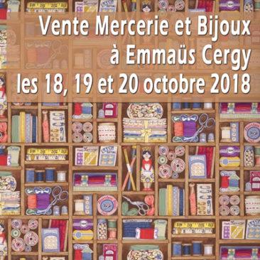 vente mercerie et bijoux à Cergy les 18,19 et 20 octobre 2018