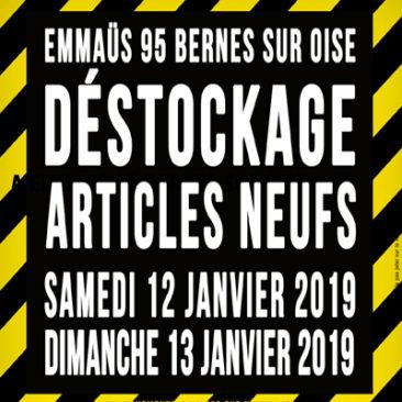 Braderie d'articles neufs à Emmaüs 95 Bernes sur Oise les 12 et 13 janvier 2019