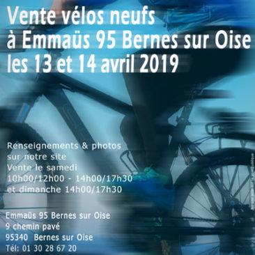 Vente de vélos neufs à Emmaüs 95 Bernes les 13 et 14 avril 2019