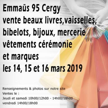 Vente beaux livres, vaisselles, bibelots, mercerie et vêtements les 14,15 et 16 mars 2019 à Cergy