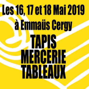 Vente les 16, 17 et 18 mai 2019 à Emmaüs Cergy Tapis, mercerie et tableaux
