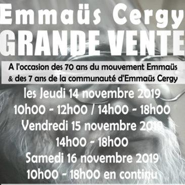 Grande vente Emmaüs Cergy les 14, 15 et  16 novembre 2019