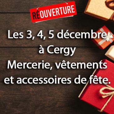 Les 3, 4, 5 décembre à Cergy vente Mercerie, vêtements et accessoires de fête