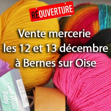 Vente mercerie les 12 et 13 décembre à Bernes sur Oise