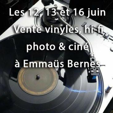 Les 12, 13 et 16 juin 2021 vente vinyles, hifi, photo et ciné à Emmaüs Bernes sur Oise