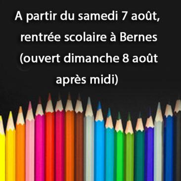 Vente fournitures scolaire à partir du samedi 07 aout à Bernes